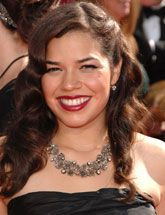 Do a bold red lip like America Ferrera for your quince!
