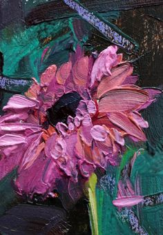 Pink Gerbera Daisy no. 2 Original Oil Painting by Angela Moulton ACEO Art #Impressionism