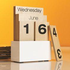 Shuffle Calendar - modern - desk accessories - See Jane Work Modern Desk Accessories, Block Calendar, Wooden Calendar, Diy Calender, Desk Calendars, Desktop Calendar, Office Calendar, Calendar Calendar, Perpetual Calendar