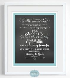 1 Peter 3:3-4 Bible verse print, perfect for a little girl's room!