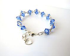 Girls Beaded Jewelry Bracelet, Sapphire Crystal Bracelet, Pearl Bracelet, Friendship Bracelet, Kids Jewelry, Flower Girl Gift, Christmas