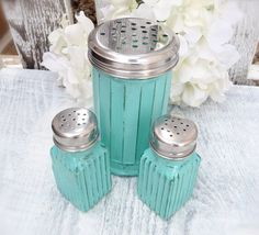 Vintage Shabby Chic Glass Salt and Pepper Shakers with Bonus Large Shaker