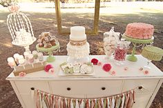 Shabby Chic Sweets Table, ruffled cake, burlap cake