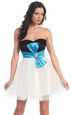 lovely black and white short cocktail dress with blue sash and bow