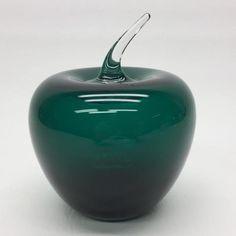 Vintage Blenko Art Glass Green Apple Fruit Hand Blown West Virginia | eBay
