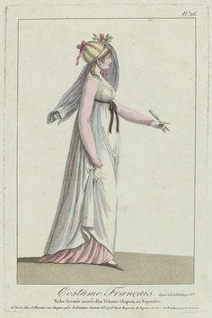 Costume Français, puis Nouveau Costume Parisien 1799-1810, No. 26: Robe fermée nouée d'un Velours..., Anonymous, J. Chereau, 1799 - 1810