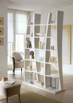 The Useful of Small Room Divider Ideas for Homes — House Home Decor Bookshelf Room Divider, Small Room Divider, Cool Bookshelves, Diy Room Divider, Room Divider Screen, Divider Ideas, Ikea Bookcase, Bookshelf Ideas, Living Room Partition Design