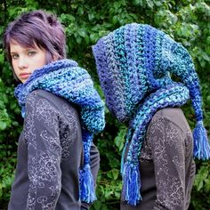 Hood Scarf cowl shawl blue by HookedWear on Etsy