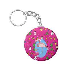 Flamingo Christmas Funny Doodles Festive Fun Keychain - christmas keychains family merry xmas personalize gift idea