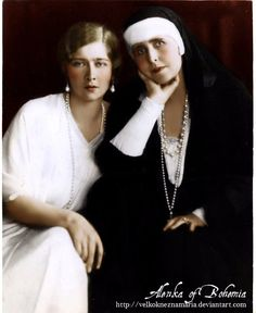 """Queen Maria """"Missy"""" of Romania with her second daughter, Queen Maria """"Mignon"""" of Yugoslavia. Originally black and white image coloured by me. Two Queens Princess Alexandra, Princess Beatrice, Princess Victoria, Queen Victoria, Romanian Royal Family, English Royalty, Two Daughters, Save The Queen, Royal House"""