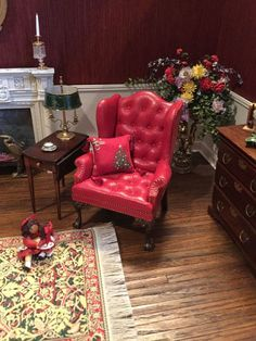 Gail Steffey, IGMA artisan - red leather wingback chair; sold on ebay for $212.50