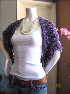 Amenthyst Lavendar Knit Crochet Shrug Jacket..love the pearls with the denim