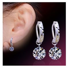 Women s 925 Sterling Silver Brand Cubic Zircon CZ Hoop Earrings Fine Jewellery