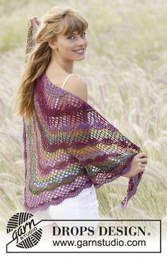 """Summer Fling - Châle DROPS au crochet, avec point d'éventail, en """"Delight"""". - Free pattern by DROPS Design"""
