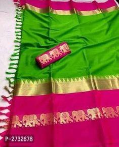 RAINBOW Hathi Fabulous Cotton Silk Sarees Mysore Silk Saree, Banarasi Sarees, Cotton Blouses, Cotton Saree, Cotton Silk Fabric, Online Shopping Sarees, Designer Silk Sarees, Plain Saree, Latest Sarees