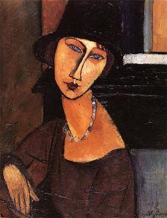 Amedeo Modigliani, Jeanne Hébuterne met hoed en halssieraad, 1917, olieverf op doek, 164.5 x 137.1 cm - Meer over dit portret: http://www.artsalonholland.nl/meesterwerken/amedeo-modigliani-jeanne-hebuterne-met-hoed-en-halssieraad