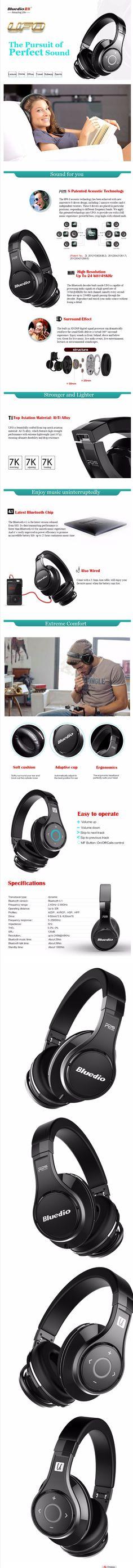 Bluedio U (UFO) High-End cuffie Bluetooth Brevettato 8 Driver/3D Sound/lega di Alluminio/HiFi wireless Over-Ear headphone