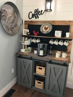 Coffee Bar barn door console Coffee Bar barn by console Coffee Bars In Kitchen, Coffee Bar Home, Home Coffee Stations, Dyi Coffee Bar, Wine And Coffee Bar, Bar Kitchen, Coffee Coffee, Kitchen Ideas, Kitchen Cabinets