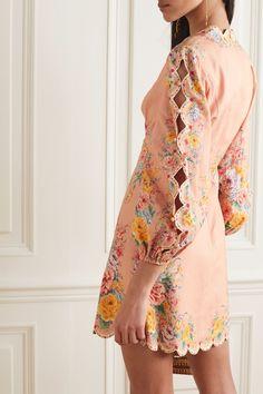 Zimmermann Zinnia Floral-print Linen And Cotton-blend Mini Dress - Pink , Simple Dresses, Modest Dresses, Summer Dresses, Quirky Fashion, Pop Fashion, Fashion Design, Sleeves Designs For Dresses, Sleeve Designs, Printed Linen