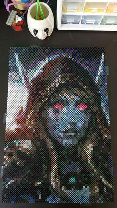 Sylvanas World of Warcraft Perler Bead 2x3 boards (58 x 87) wow undead lady sylvanas by Kammie
