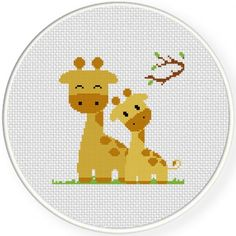 Giraffe Mom and Baby Cross Stitch Illustration