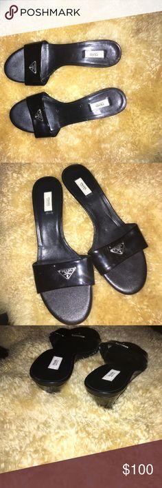 Cute Black Prada Shoes!  Sized 36.5, Black, Slide in Prada Shoes. ⚫️ Prada Shoes Sandals