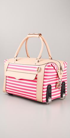 Rebecca Minkoff Striped Wheelie Bag - this is FAR too cute. Luggage at its most adorable! Cute Luggage, Travel Luggage, Luggage Bags, Travel Bags, Pink Luggage, Estilo Navy, Divas, Mk Handbags, Cute Bags