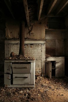 an abandoned kitchen in normandy