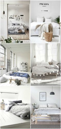 Beautiful Minimalist Bedroom inspiration.                                                                                                                                                                                 More