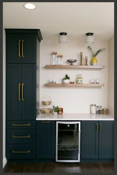Basement Kitchen Ideas (Small Basement Kitchen and Bar Design) Small Basement Kitchen, Basement Kitchenette, Kitchenette Ideas, Kitchen Decor, Kitchen Design, New Kitchen, Kitchen Ideas, Blue Kitchen Cabinets, Kitchen Counters