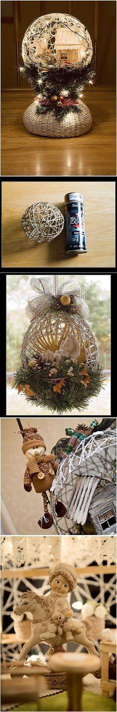 Замечательный ночник и новогод   ние елочные игрушки из ниток.