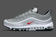 2018 Men and Wmns Nike Air Max 97 OG Pure Platinum University Red