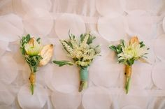 love the gold details on these green and white boutonnieres   Photography By / haleysheffield.com, Event Design By / jessicainteriors.com, Floral Design By / gertiemaes.com