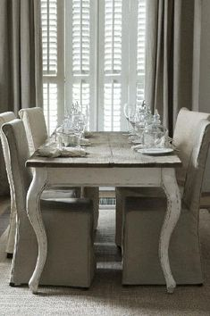 @Hestia Argyris Isom Gorgeous .french country dining table & chairs + drapery & shutters .