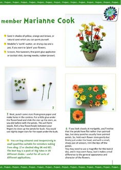 Marigolds tutorial page AIM IMag issue Garden Care, Tiny Flowers, Paper Flowers, Craft Flowers, Diy Dollhouse, Dollhouse Miniatures, Planting Marigolds, Marigold Flower, Mini Plants