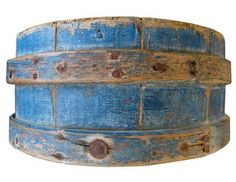 Cheese mold with striking blue paint, early 20th c., American