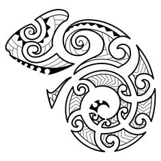 Maori style chameleon Carol requested this Maori styled tattoo of a chameleon to be placed on her left shoulder blade towards the shoulder. Drawing it we used korus (life, new beginning), the hammerhead shark motif (tenacity, determination), stylized spear heads (courage[...]
