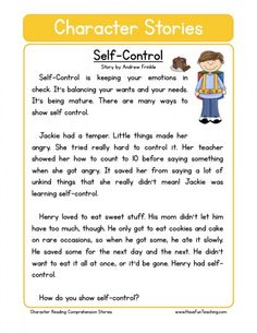 Self-Control Character Reading Comprehension Worksheet. This reading comprehension worksheet is for teaching and learning about Self-Control. Reading Comprehension Worksheets, Reading Fluency, Reading Strategies, Comprehension Questions, Reading Response, Values Education, Character Education, Education Quotes, Education Week
