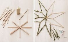 This is how the evergreen star is created – christmas decorations Frugal Christmas, Christmas Love, All Things Christmas, Winter Christmas, Hygge Christmas, Yule Decorations, Christmas Tree Decorations, Christmas Ornaments, Holiday Themes