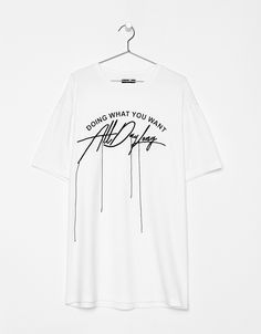 T-shirt with embroidered slogan and ribbons. Discover this and many more items in Bershka with new products every week