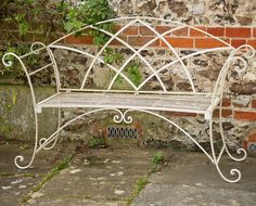 Sol 72 Outdoor A wrought iron bench, finished in white which is light but strong with a beautiful curved design, which would make a charming addition to an garden, porch, patio or verandah. Cast Iron Garden Bench, Cast Iron Bench, Metal Garden Benches, Iron Patio Furniture, Garden Furniture, Vintage Patio Furniture, Wrought Iron Bench, Traditional Benches, Bench Decor