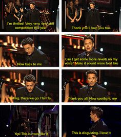 "Robert Downey Jr. elaborately accepting his three awards (for ""Iron Man 3"")  at the People's Choice Awards, Wednesday, January 8, 2014."