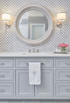 Master bathroom marble mosaic vanity tile backsplash with gray painted vanity, lights and round mirror - Home DIY Idea Grey Bathroom Tiles, Bathroom Colors, Marble Bathrooms, Bathroom Ideas, Silver Bathroom, Design Bathroom, Bath Design, Tile For Small Bathroom, Turquoise Bathroom