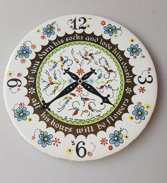 Vintage Berggen-Trayner ceramic tea tile trivet Swedish-inspired clock design by CircularVintage on Etsy