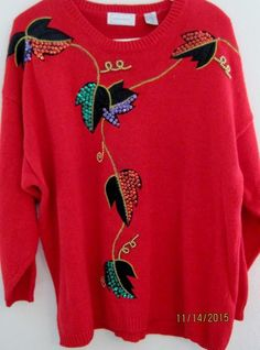 Womens Christmas  Sweater 24W Red w/ beads, purple, green & red sequins  UGLY #Combinations #Crewneck