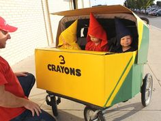 Wagon Stroller Car WC :: Crayons In Box Triplets HALLOWEEN COSTUMES