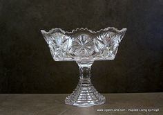Antique Leaded Crystal Fans and StarBurst Compote by ogdenlane, $39.95
