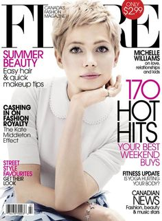 Michelle Williams Covers 'Flare' July 2012 Michelle Williams graces the cover of Flare's July issue. Short Pixie Haircuts, Pixie Hairstyles, Pretty Hairstyles, Short Hair Cuts, Short Hair Styles, Pixie Haircut For Round Faces, Michelle Williams Pixie, Pixie Cut, Hair Dos