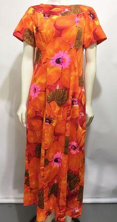 Alice Polynesian Fashions S Orange Barkcloth Aloha Hawaiian Dress MuuMuu Vintag | Collectibles, Cultures & Ethnicities, Hawaiian | eBay!