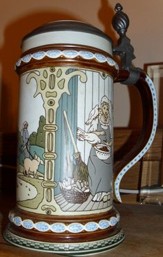 #2904 Villeroy & Boch 1981 Mettlach, 3 Grimm's Fairy Tales depicted: THE GOLDEN GOOSE, THE SHOE MAKER & THE ELVES, & CINDERELLA
